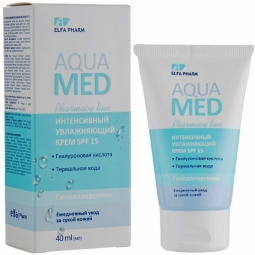 Crema intens hidratanta ten uscat spf15 acid hialuronic apa termala AquaMed 40ml - ELFA PHARM