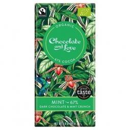 Ciocolata neagra 67% menta crocanta 100g - CHOCOLATE & LOVE