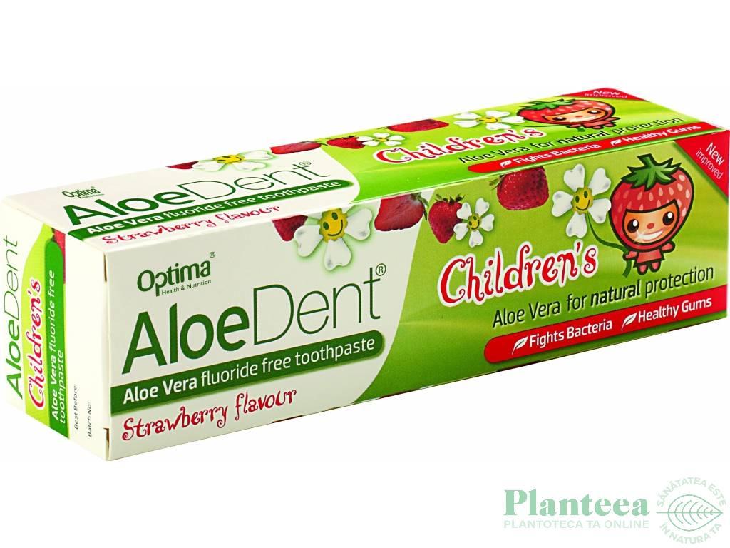 Pasta dinti aloe vera copii fara fluor AloeDent 50ml - OPTIMA HEALTH
