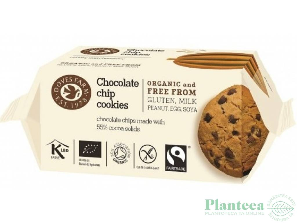 Biscuiti fulgi ciocolata fara gluten 180g - DOVES FARM