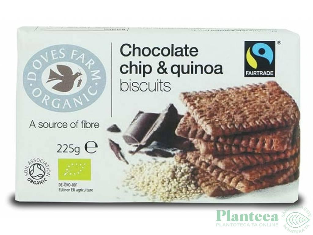 Biscuiti quinoa fulgi ciocolata 225g - DOVES FARM