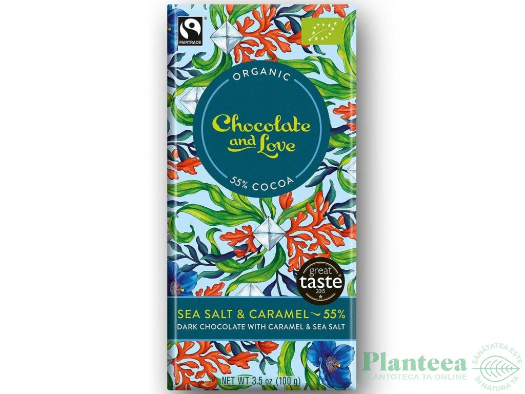 Ciocolata neagra 55% caramel sare mare 100g - CHOCOLATE & LOVE