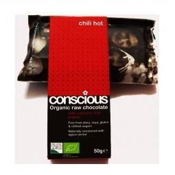 Ciocolata neagra 70% chilli hot raw 50g - CONSCIOUS