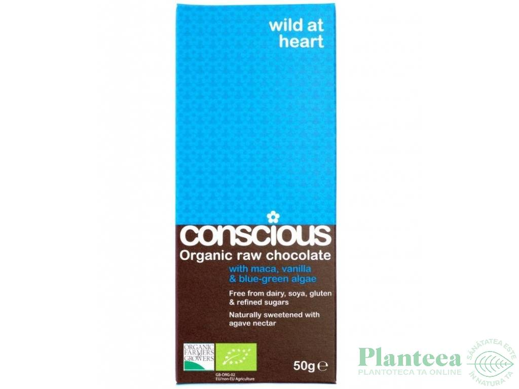 Ciocolata neagra 65% Wild at Heart raw 50g - CONSCIOUS