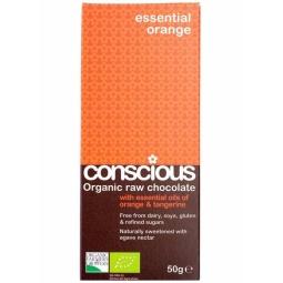 Ciocolata neagra 65% Essential Orange raw 50g - CONSCIOUS