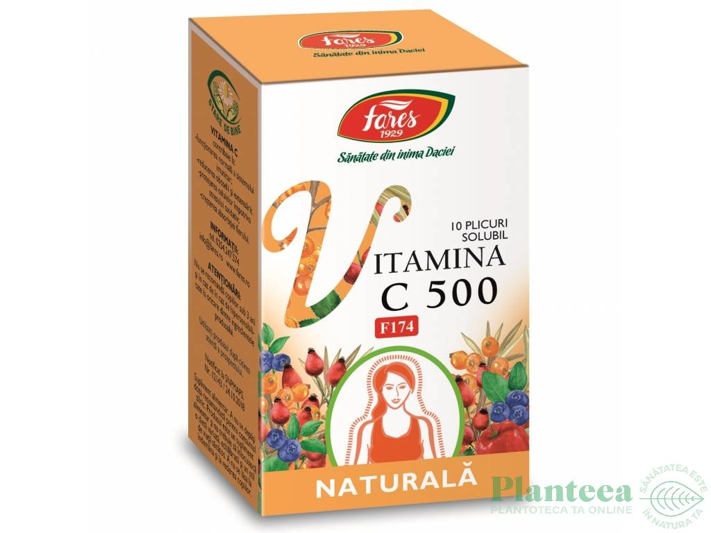 Vitamina C500 naturala solubil 10pl - FARES