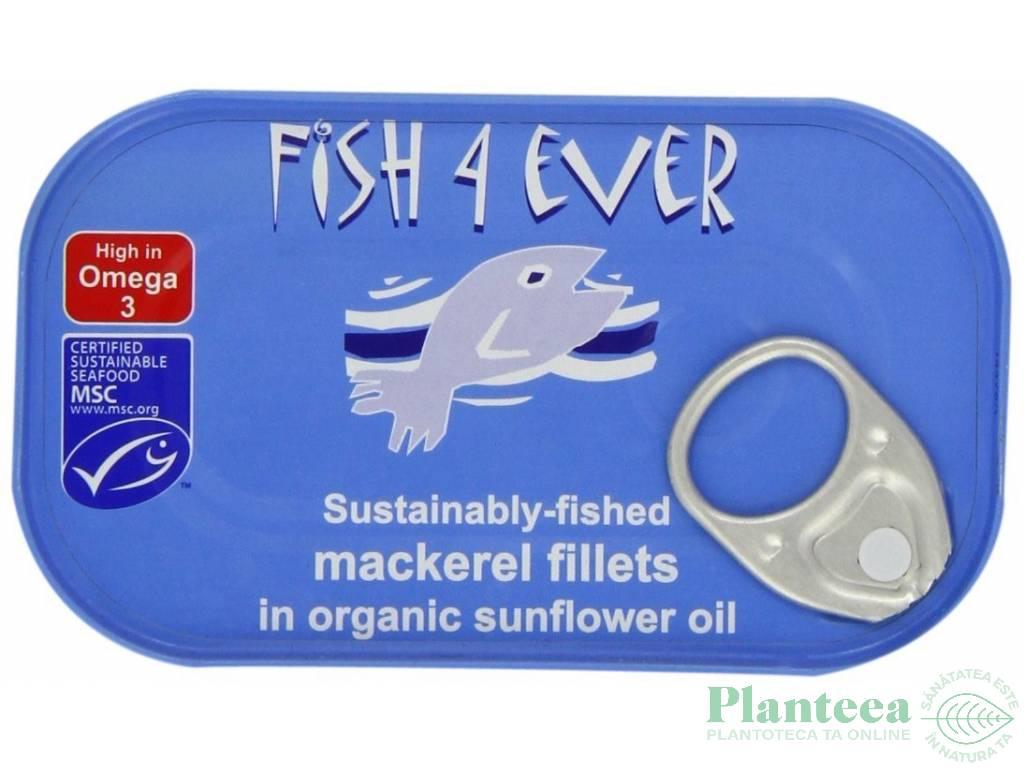 Conserva macrou file ulei fl soarelui 120g - FISH 4 EVER