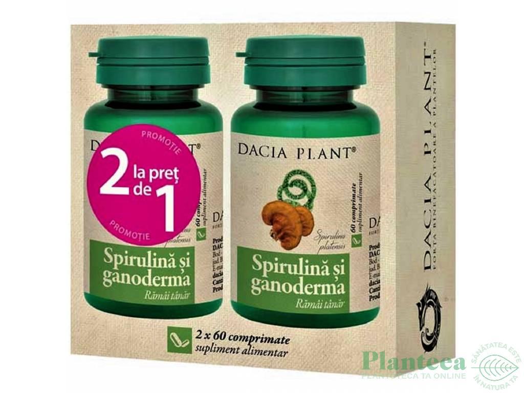 Pachet Spirulina ganoderma {1+1} 60cp - DACIA PLANT