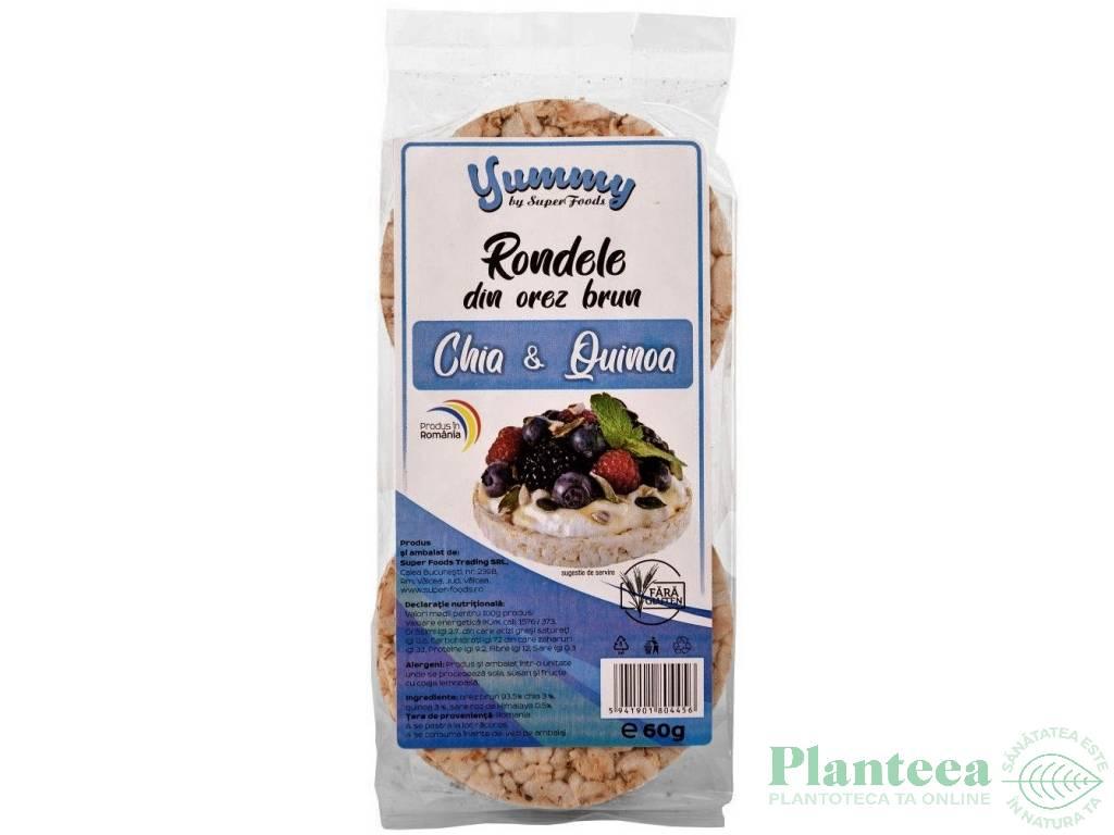 Rondele expandate orez brun chia quinoa 60g - SUPERFOODS