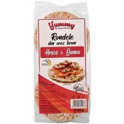 Rondele expandate orez brun hrisca quinoa 60g - SUPERFOODS