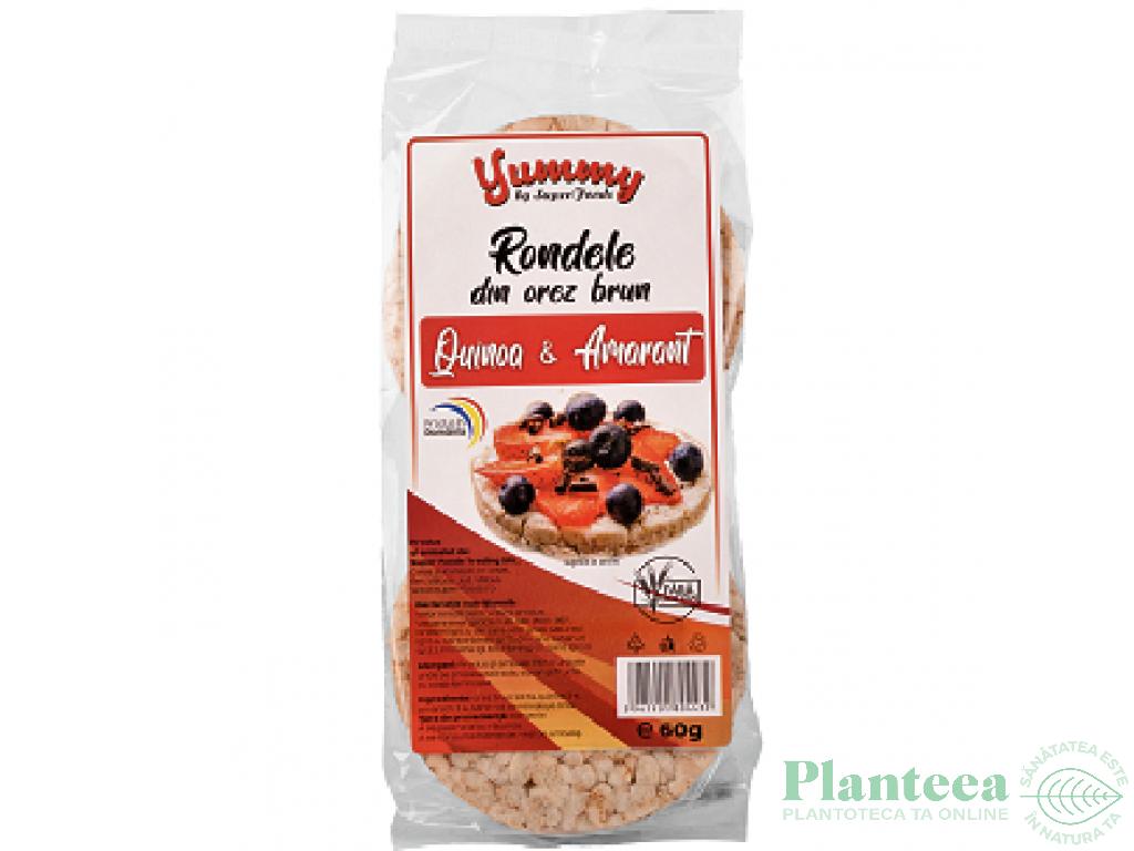 Rondele expandate orez brun quinoa amarant 60g - SUPERFOODS