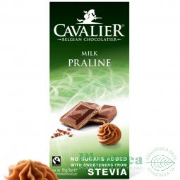 Ciocolata lapte belgiana cu praline alune 85g - CAVALIER