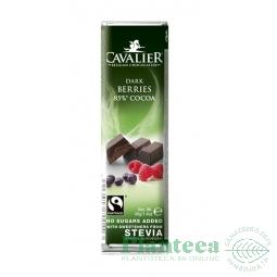 Ciocolata neagra 85% fructe padure 40g - CAVALIER