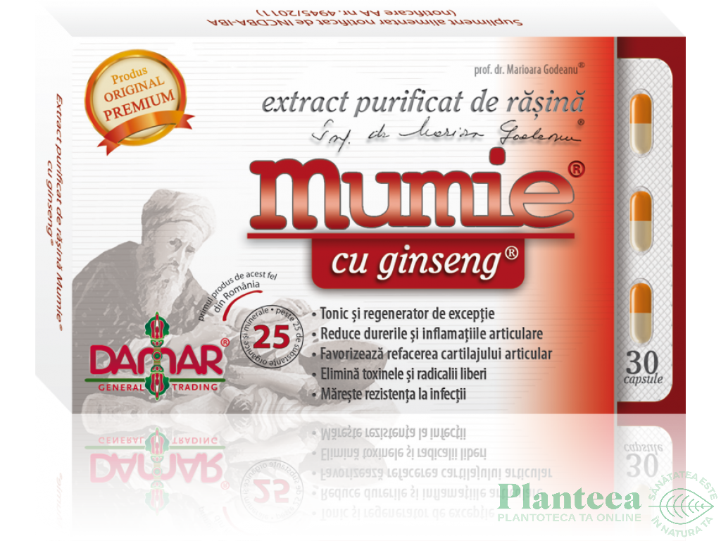 Mumie extract purificat rasina ginseng 30cps - DAMAR