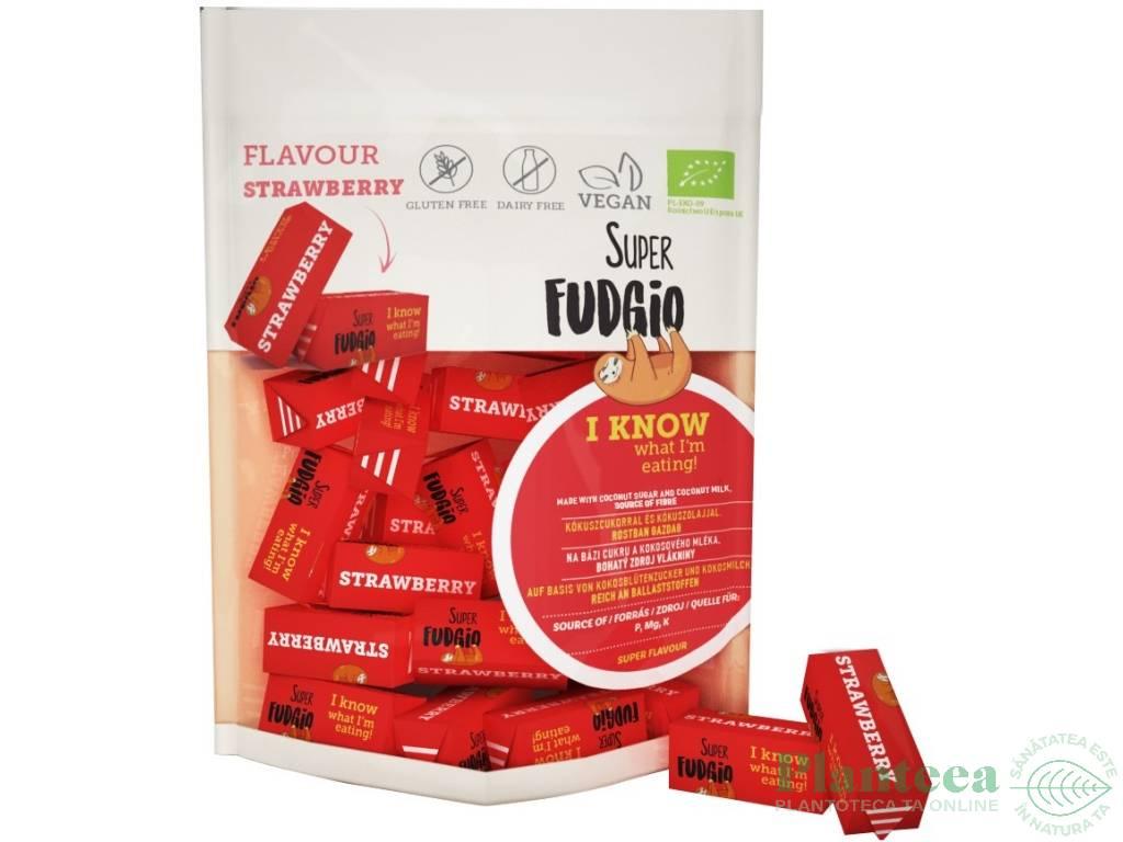 Caramele vegane capsuni fara gluten bio 150g - SUPER FUDGIO