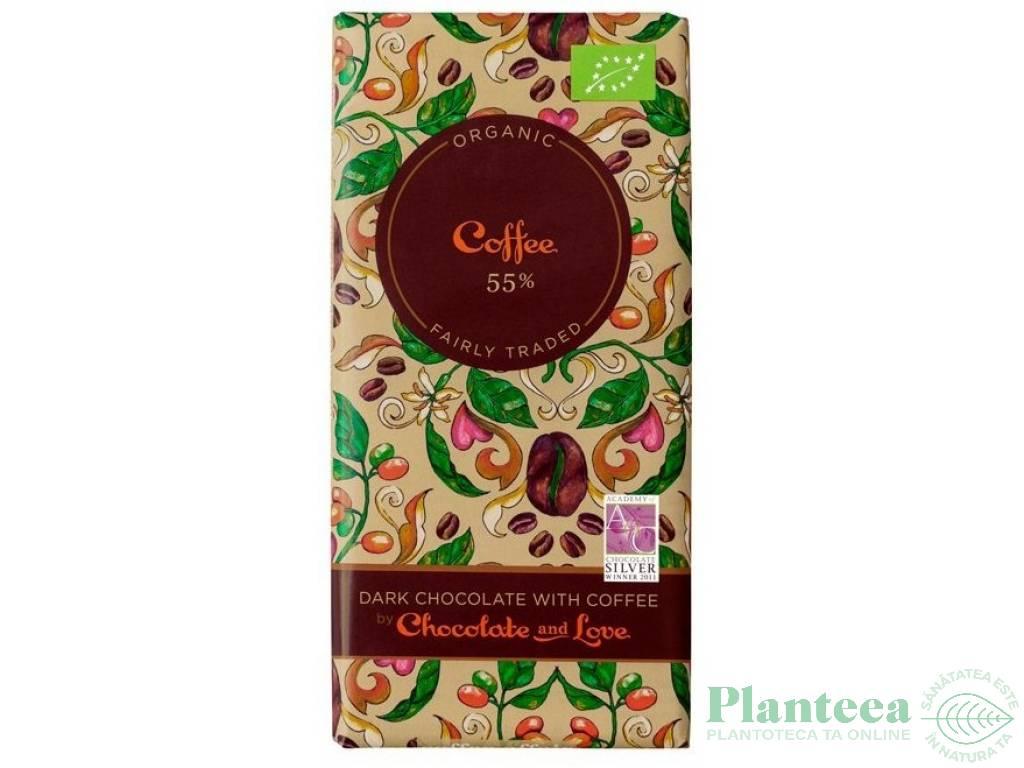 Ciocolata neagra 55% cafea 100g - CHOCOLATE & LOVE