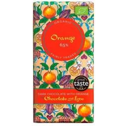 Ciocolata neagra 65% portocale 100g - CHOCOLATE & LOVE