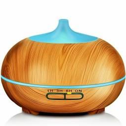 Difuzor ultrasonic aromaterapie oval 7culori lemn deschis 300ml - ALBACOM