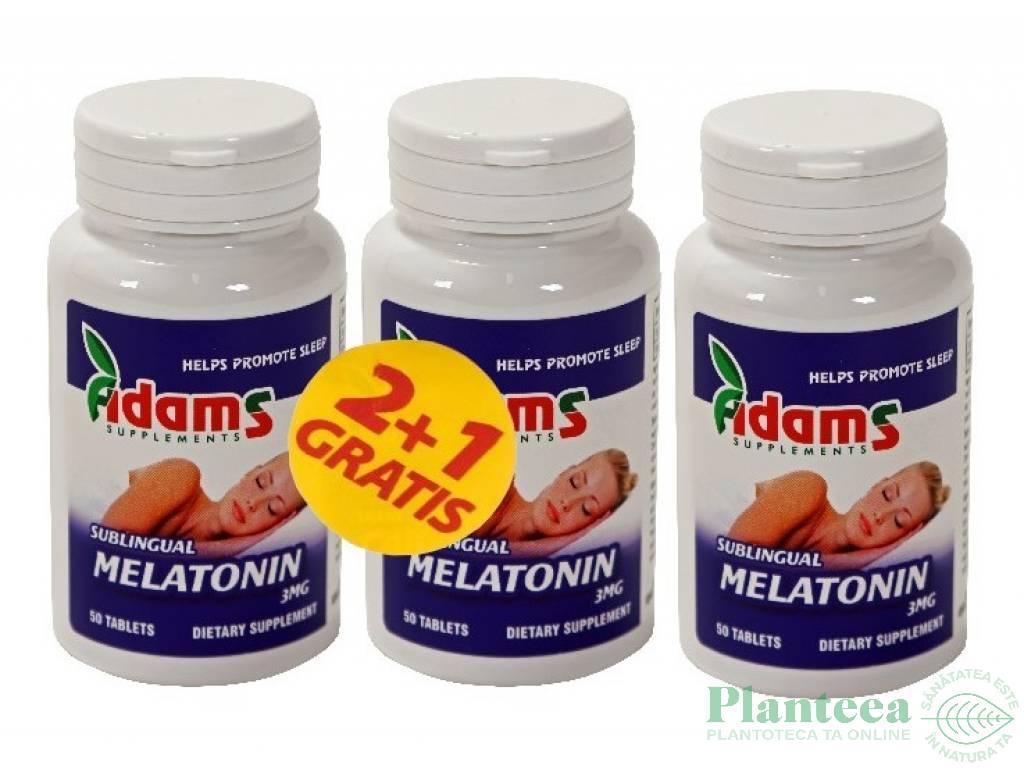 Pachet Melatonina 3mg {2+1} 50cp - ADAMS