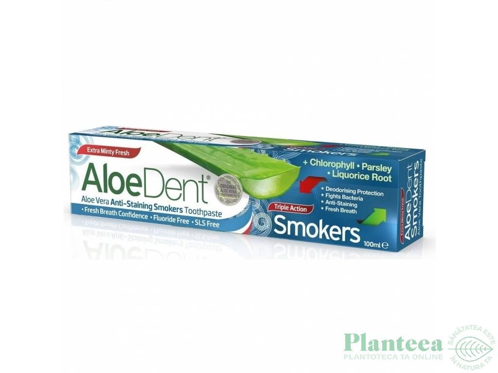 Pasta dinti tripla actiune pt fumatori fara fluor AloeDent 100ml - OPTIMA HEALTH