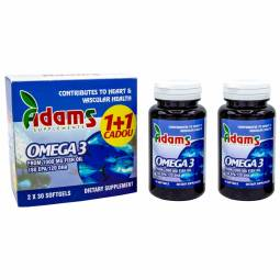 Pachet Omega3 1000mg ulei peste vit E {1+1} 30cps - ADAMS