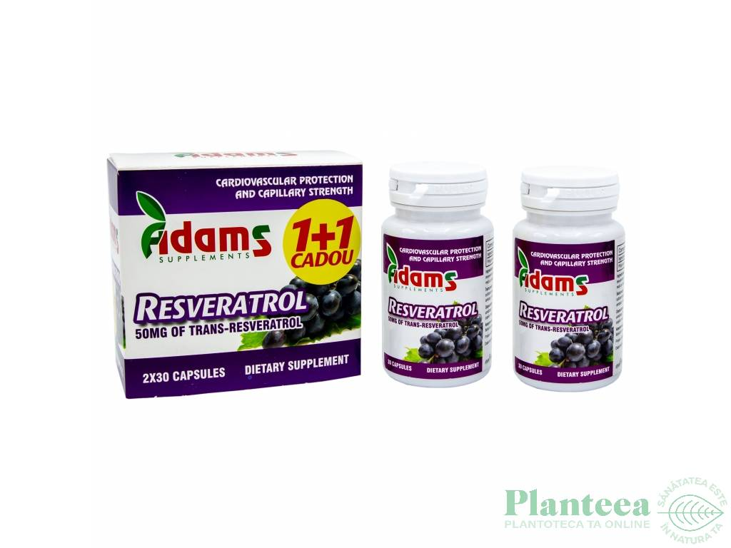Pachet Resveratrol 50mg {1+1} 30cps - ADAMS