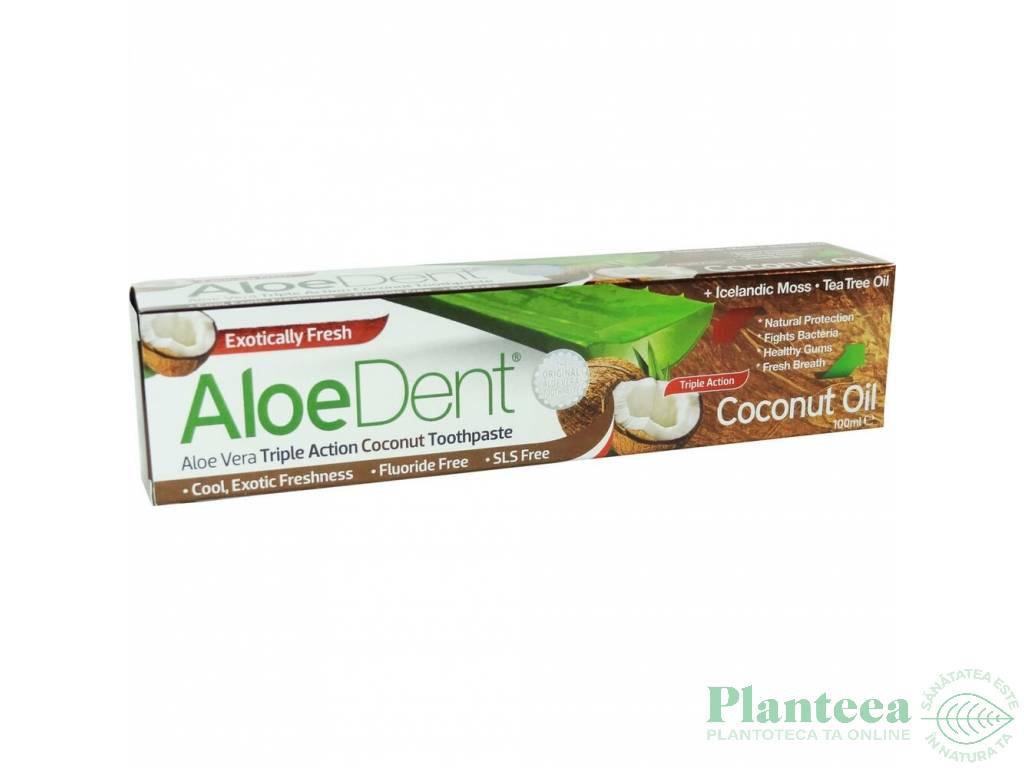 Pasta dinti tripla actiune cocos fara fluor AloeDent 100ml - OPTIMA HEALTH