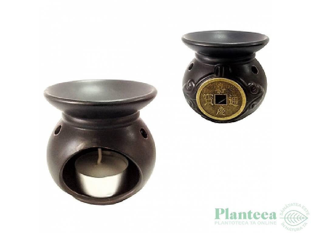 Vas ceramic ulei aromaterapie negru 1b - LCA