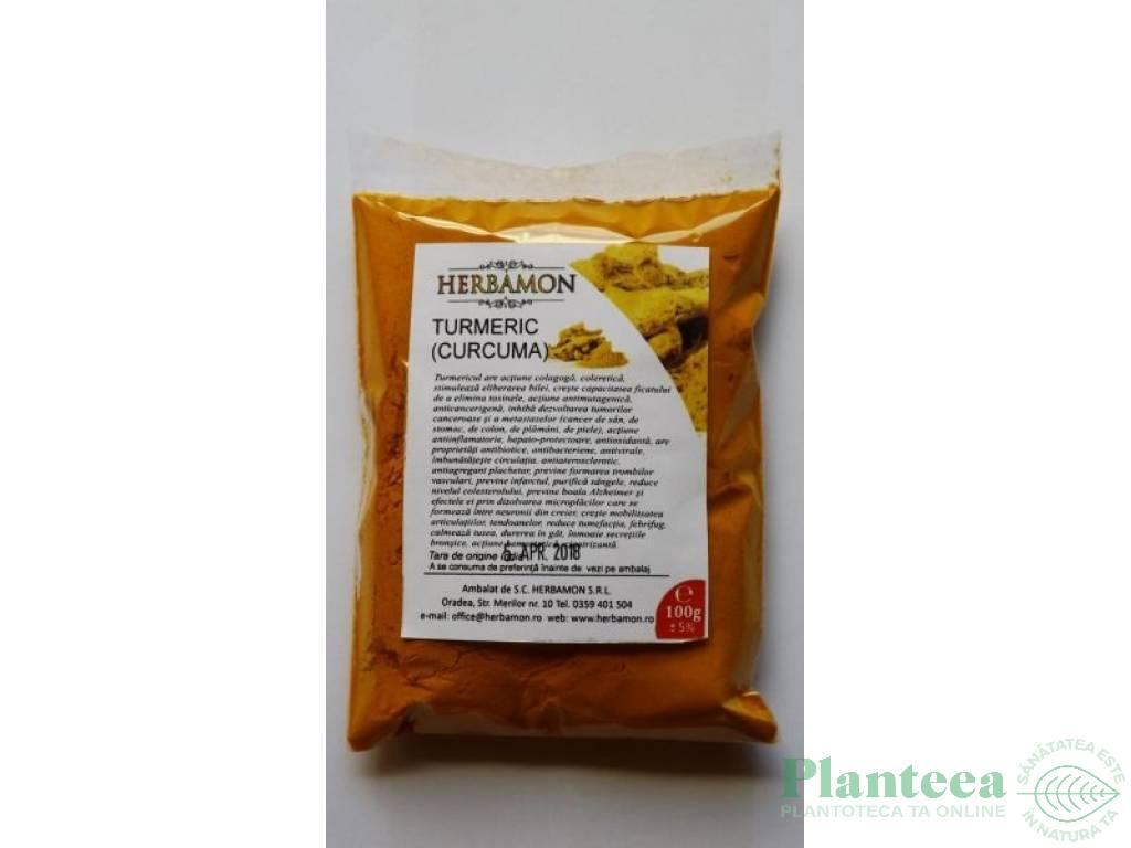 Condiment turmeric macinat 100g - HERBAMON