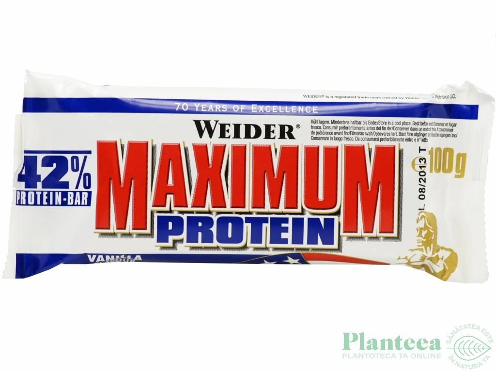 Baton proteic 42% MaximumProtein vanilie 100g - WEIDER